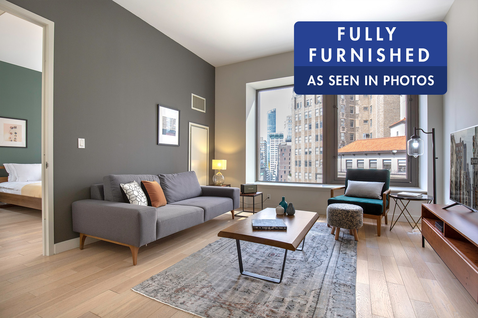 * Price varies by duration of stay: 12+ month lease: $4,900 * / mo 6 to 12 month lease: $5,000 * / mo 3 to 6 month lease: $5,700 * / mo* Prices quoted are applicable only if billed upfront for the entire duration of the contract. Rates are up to 9% higher if billed monthly. Prices are exclusive of any taxes (applicable only for leases below 180 days) or utilities.Follow the link to book online! https://www.theblueground.com/furnished-apartments-new-york-usa/downtown-financial-district-251?utm_source=classified-5This beautifully furnished 1-bedroom apartment in the Financial District is available and ideal for short to long-term stays (3-12+ months).Key features-Designer and custom made furniture-Full kitchen equipment-Quality 5-star hotel mattress, linen & towels-Wide-screen TV, wifi speaker, coffee machine-In-unit washer/dryerSupport & Services-Access to our mobile app-Maintenance-Cleaning and laundry on demand-Bills HandlingBuilding-Gym-24-hour doorman-Concierge -ElevatorLocation & POI DistancesThis furnished apartment is located in the Financial District, also known as FiDi. Home to Wall Street and the One World Trade Center, it is a constant hub of activity. During the week the sidewalk is always bustling and the restaurants are filled with professionals. The glittering skyscrapers and well-known landmarks make this one of the city's most recognizable neighborhoods. By Subway, Times Square is about 20 minutes away.Building amenities may have an extra costBrokers CYOF